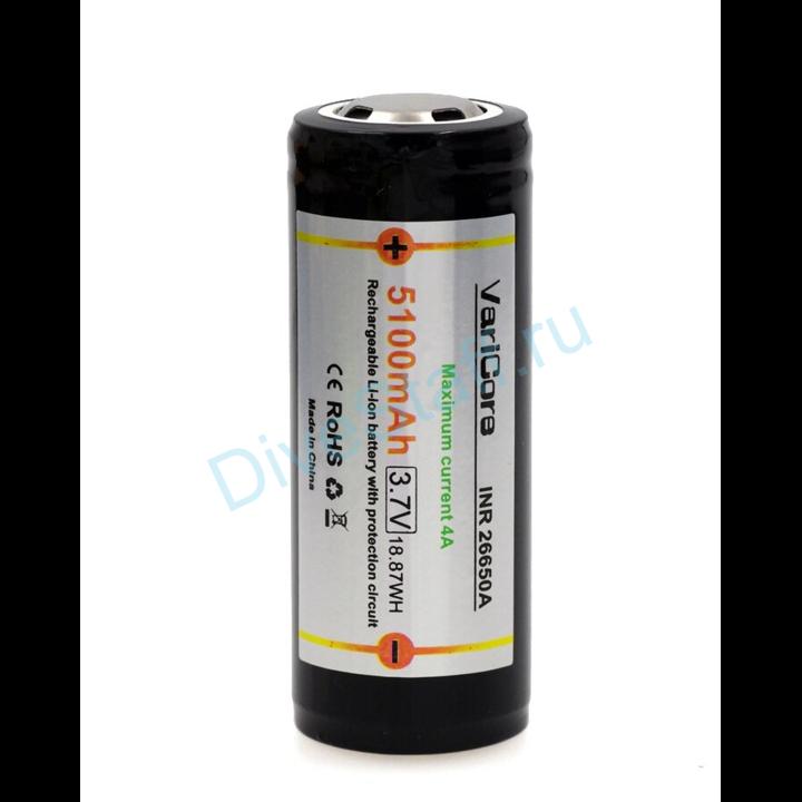 Аккумулятор 26650 Li-ion 3.7В 5100 mAh с защитой 1шт.